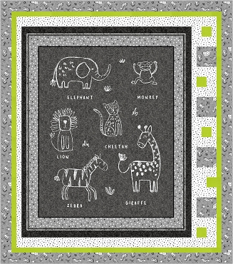 Quilt Kit Top Chalkboard Animals Michael Miller Crib Size 46 x 52