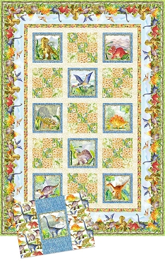 Quilt Kit Top Dinosaur Friends In The Beginning Fabrics 65.5 x 93.5
