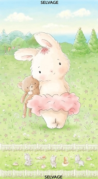 Bunny and Her Bear, Timeless Treasures Bunnies by The Bay 24 inch