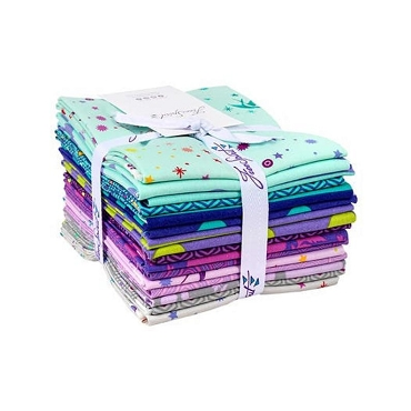 True Colors Free Spirit Tula Pink Peacock Fat Quarter Bundle 16 of 18 x 22
