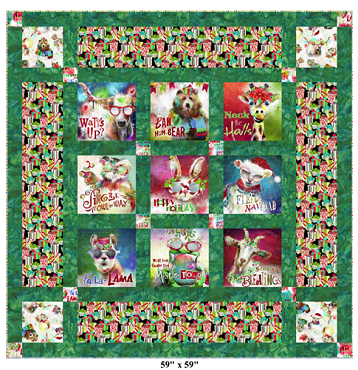 Quilt Kit Top Sassy Holiday Greetings 3 wishes 59 by 59