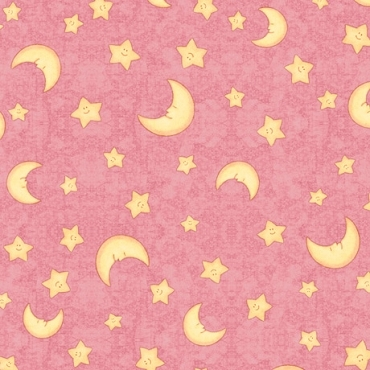 Lullaby  QT Fabrics Moon and Stars Dark Pink