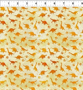 Dinosaur Friends  In the Beginning Fabrics Orange Mini Dino