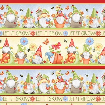 Gnome is Where Your Garden Grows Henry Glass & Co. Gnomes Novelty Stripe Multi
