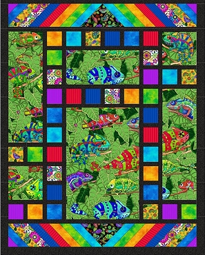 Quilt Kit Top Tom's Garden Color me Chameleon 48 x 61
