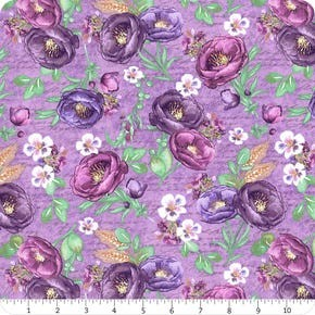 Violette Wilmington Prints Tossed Florals Purple