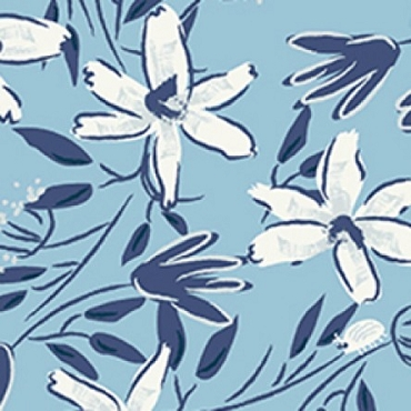 Blue Goose Clothworks  Floral Light Blue