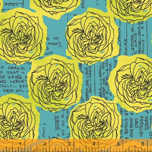 Norma Rose Windham Fabrics Kitchen Bouquet Turquise 19303505